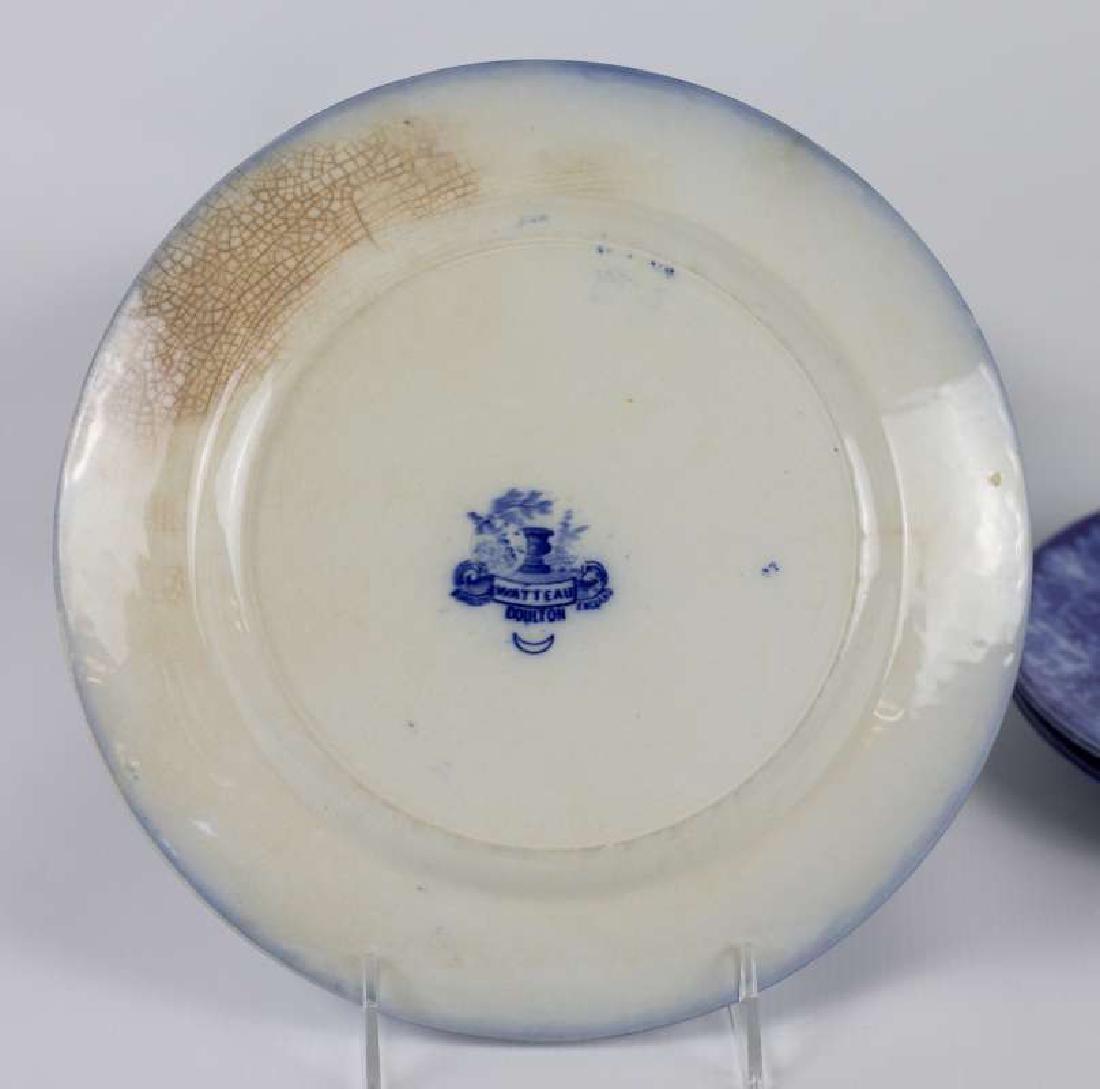SEVEN WATTEAU PATTERN FLOW BLUE PLATES - 6