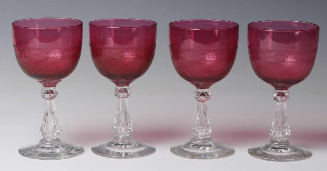 TWELVE VARIOUS ANTIQUE CRANBERRY GLASS WINES - 7