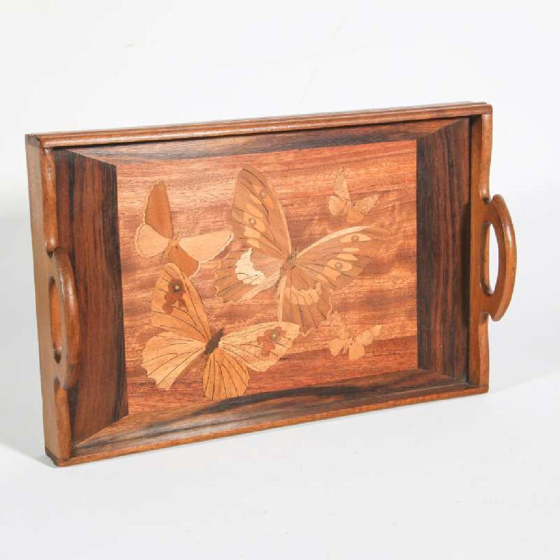AN EARLY 20TH C. MARQUETRY TRAY WITH BUTTERFLIES