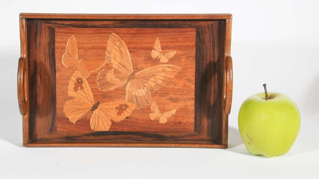 AN EARLY 20TH C. MARQUETRY TRAY WITH BUTTERFLIES - 2