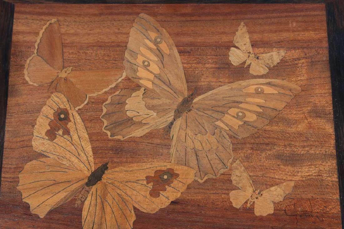 AN EARLY 20TH C. MARQUETRY TRAY WITH BUTTERFLIES - 8