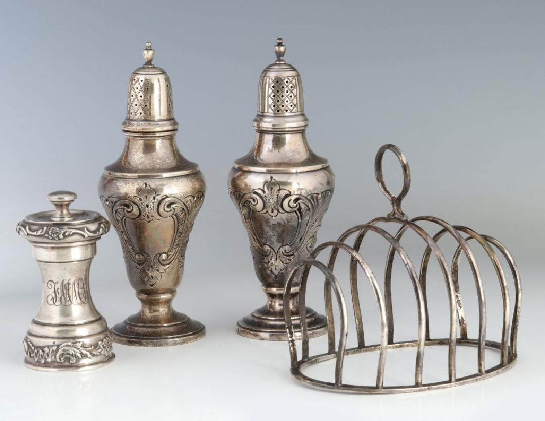 EARLY 20TH C STERLING SILVER SHAKERS & TOAST RACK