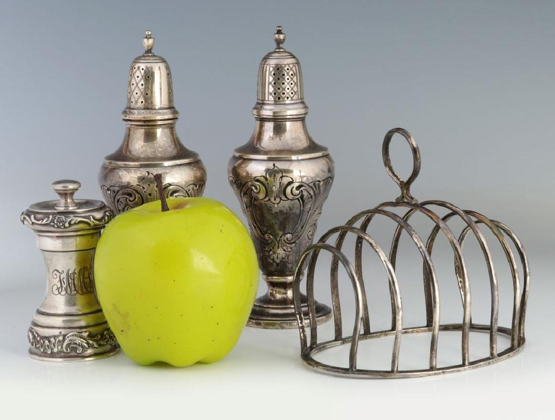 EARLY 20TH C STERLING SILVER SHAKERS & TOAST RACK - 2