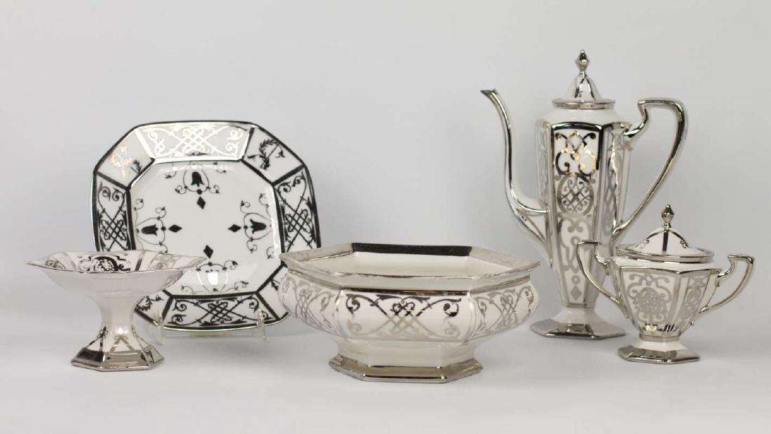 A PICKARD CHINA PLATINUM DECORATED COFFEE SET