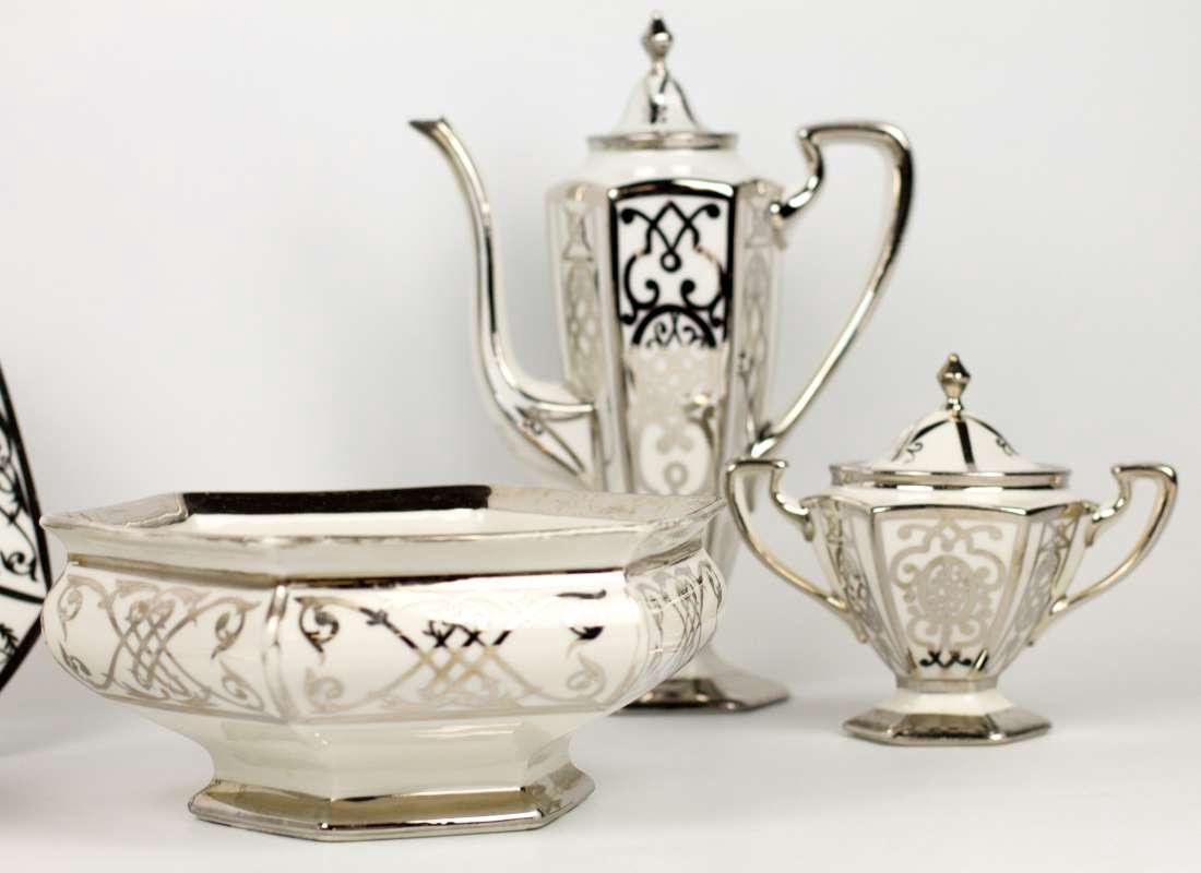 A PICKARD CHINA PLATINUM DECORATED COFFEE SET - 2