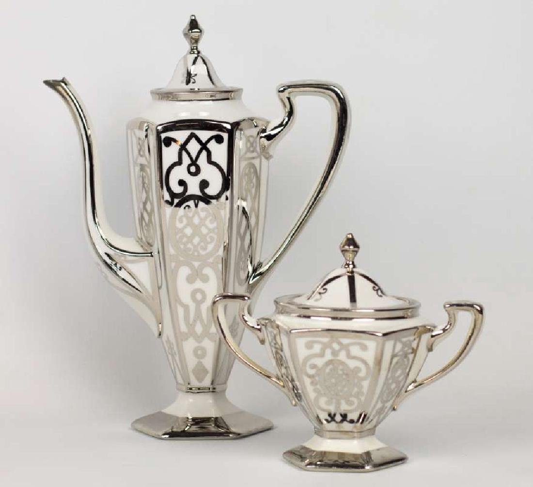 A PICKARD CHINA PLATINUM DECORATED COFFEE SET - 3
