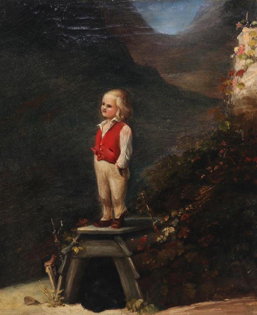 A CURIOUS MID 19TH CENTURY CONTINENTAL OIL ON CANVAS