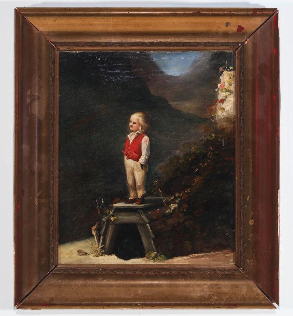 A CURIOUS MID 19TH CENTURY CONTINENTAL OIL ON CANVAS - 2