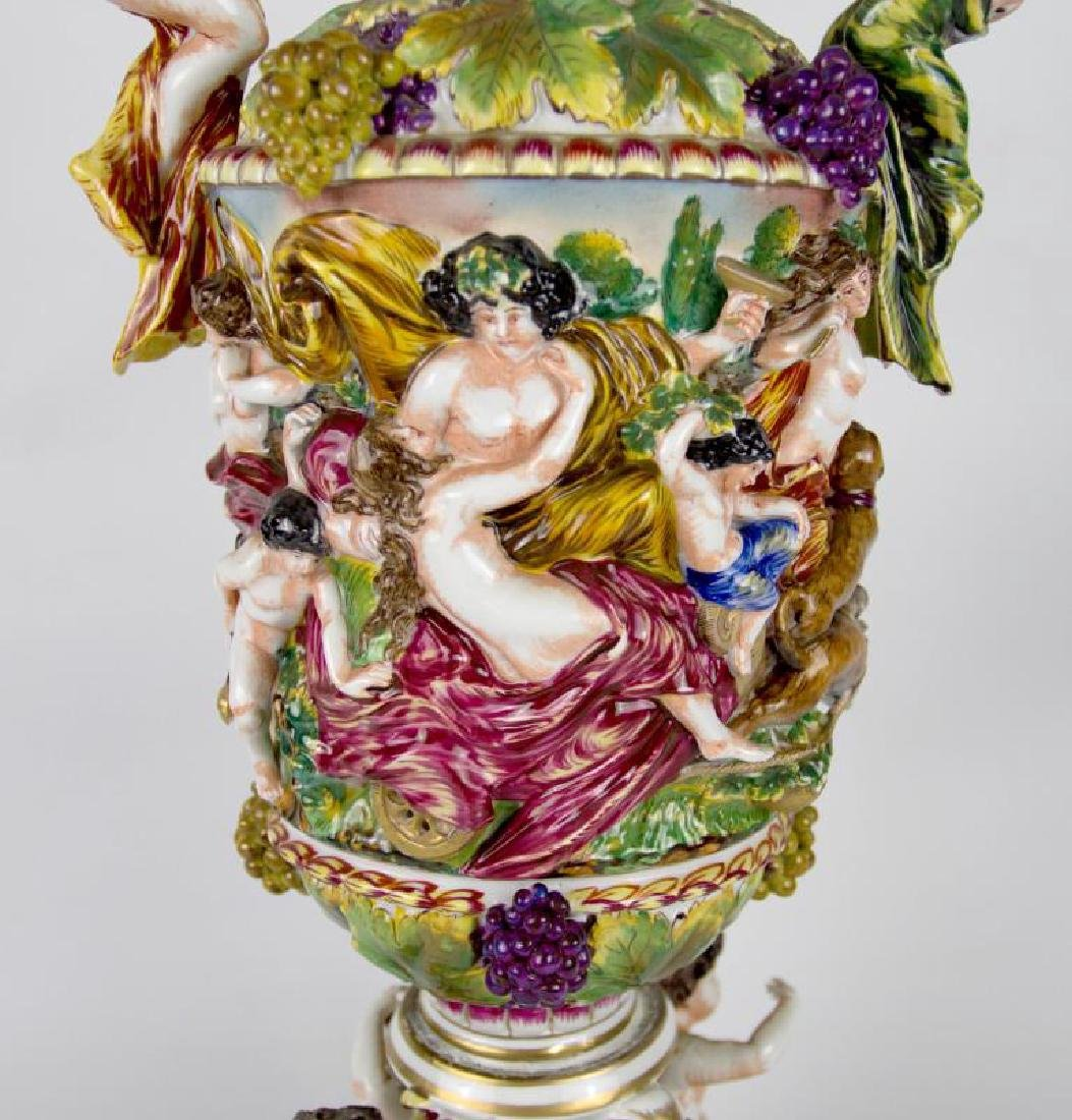 A 24-INCH CAPO DI MONTE TYPE COVERED VASE AS FOUND - 5