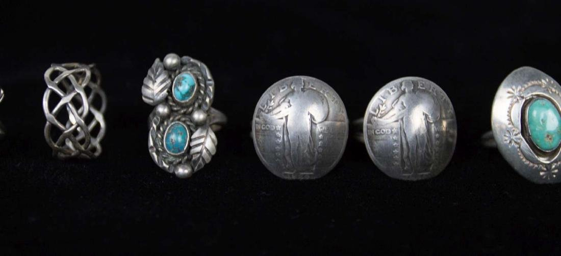SEVEN STERLING AND COIN SILVER RINGS - 2