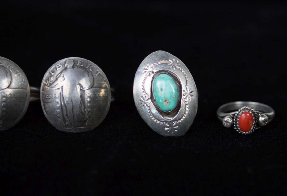 SEVEN STERLING AND COIN SILVER RINGS - 3