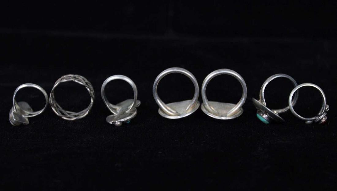 SEVEN STERLING AND COIN SILVER RINGS - 4