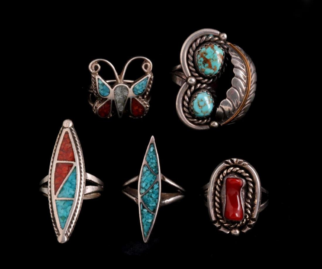 FIVE NAVAJO AND ZUNI STERLING RINGS