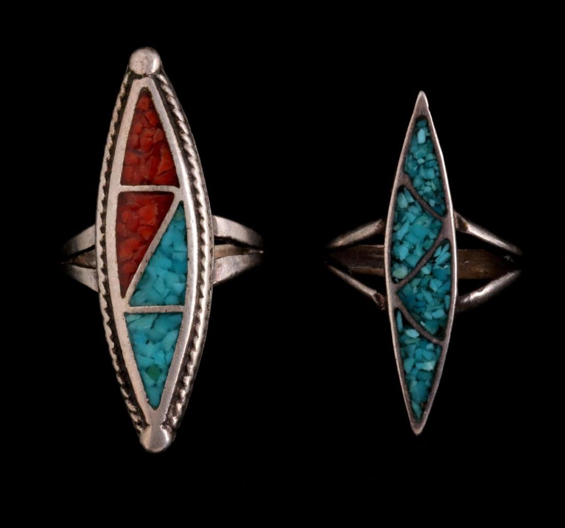 FIVE NAVAJO AND ZUNI STERLING RINGS - 2