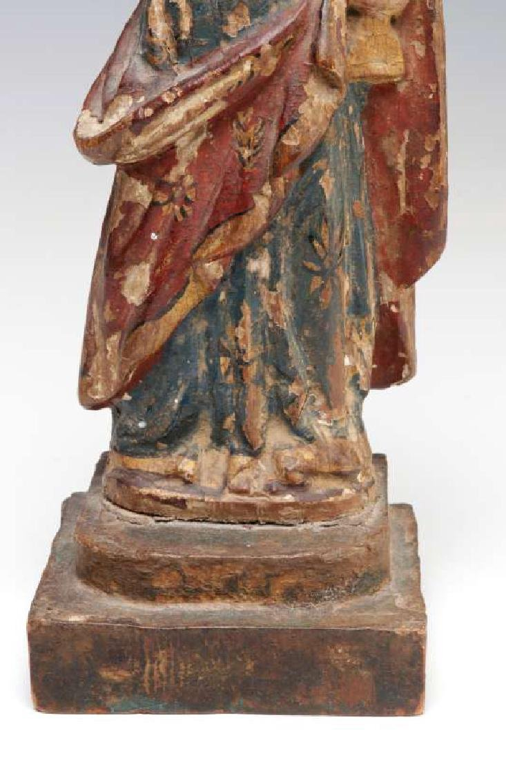 AN 18TH C CONTINENTAL CARVED WOOD SANTOS FIGURE - 4