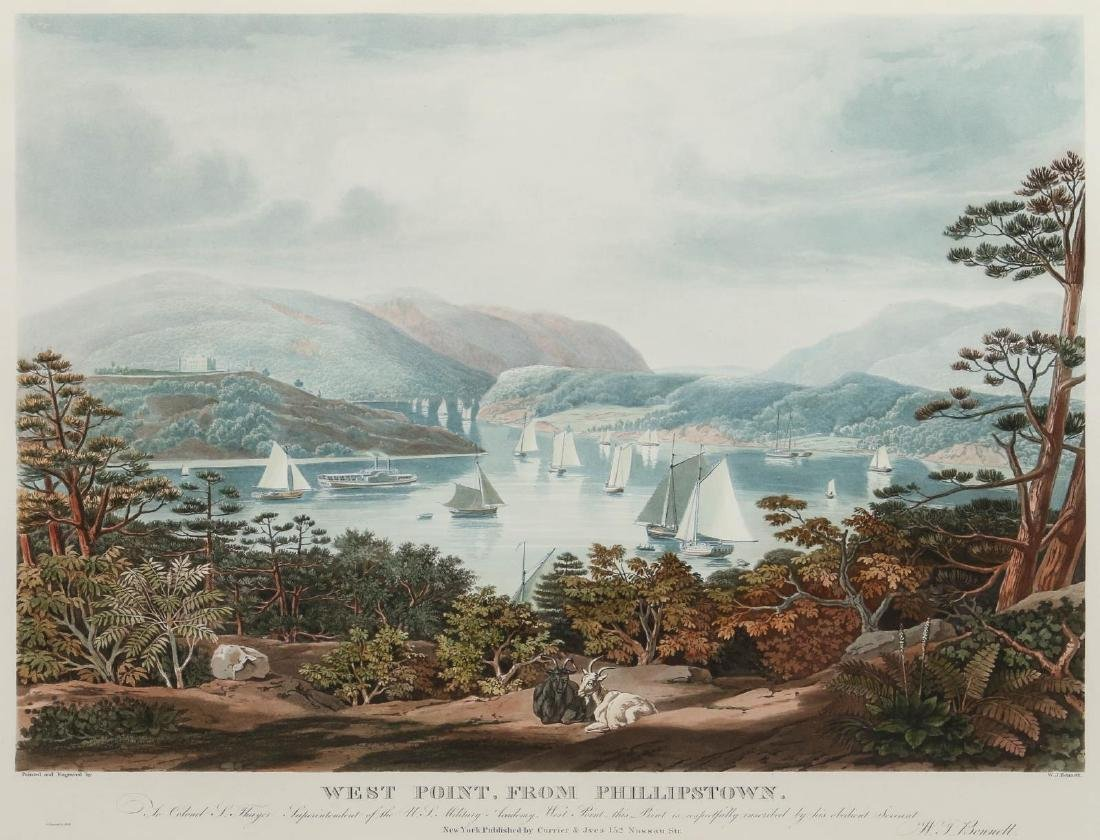 A LATE 20TH C PRINT: WEST POINT, FROM PHILLIPSTOWN