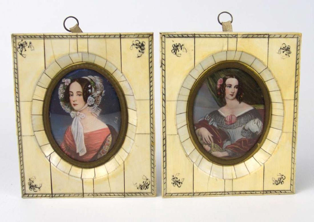 TWO MINIATURE PAINTINGS OF LADIES IN 1930S GARB
