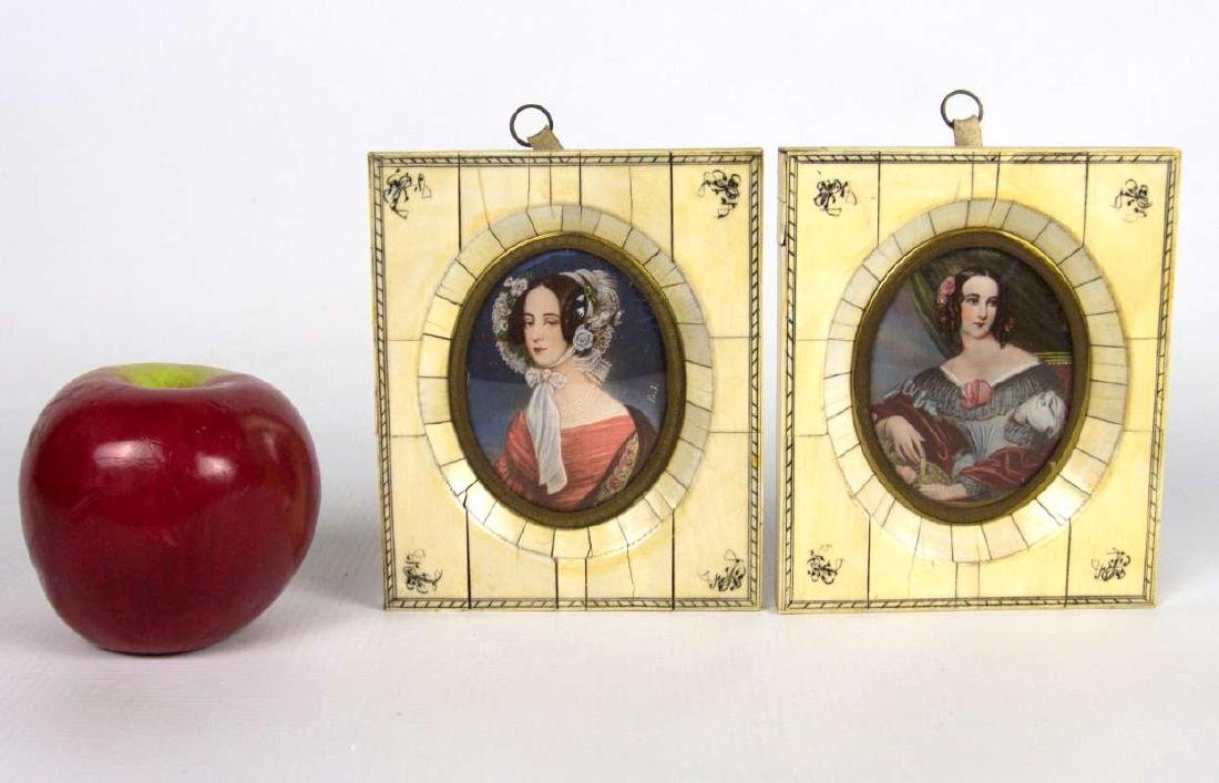 TWO MINIATURE PAINTINGS OF LADIES IN 1930S GARB - 2