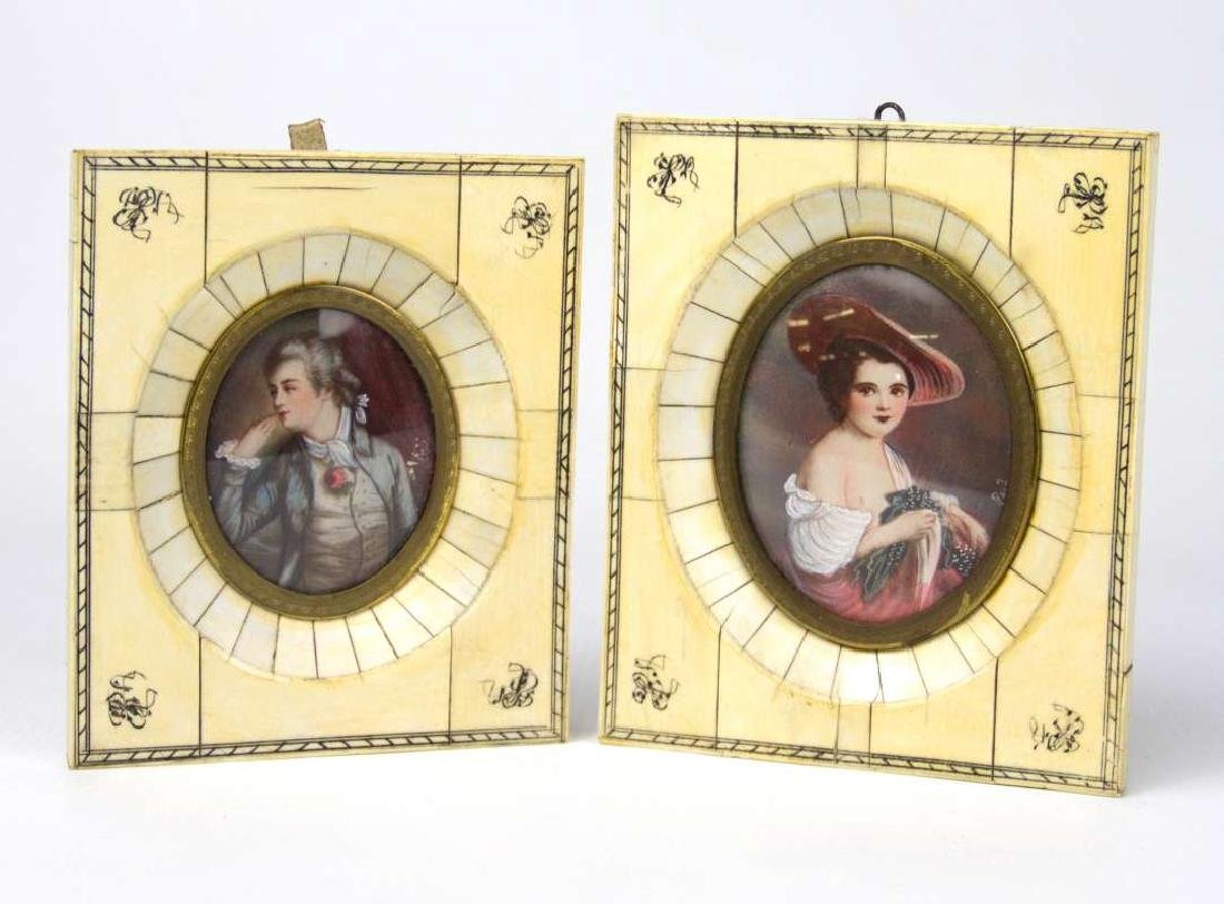 TWO LATE 19TH C. CONTINENTAL MINIATURE PORTRAITS