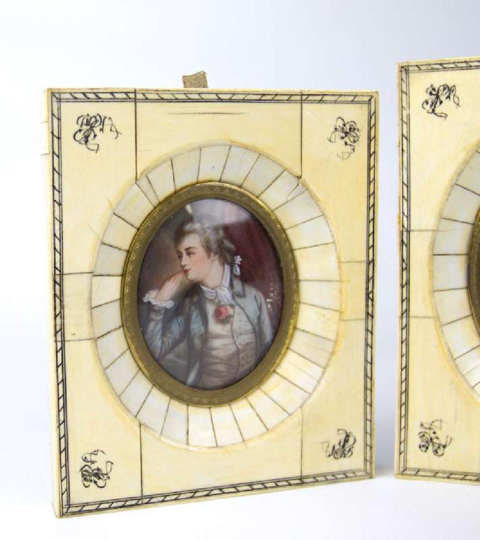 TWO LATE 19TH C. CONTINENTAL MINIATURE PORTRAITS - 2