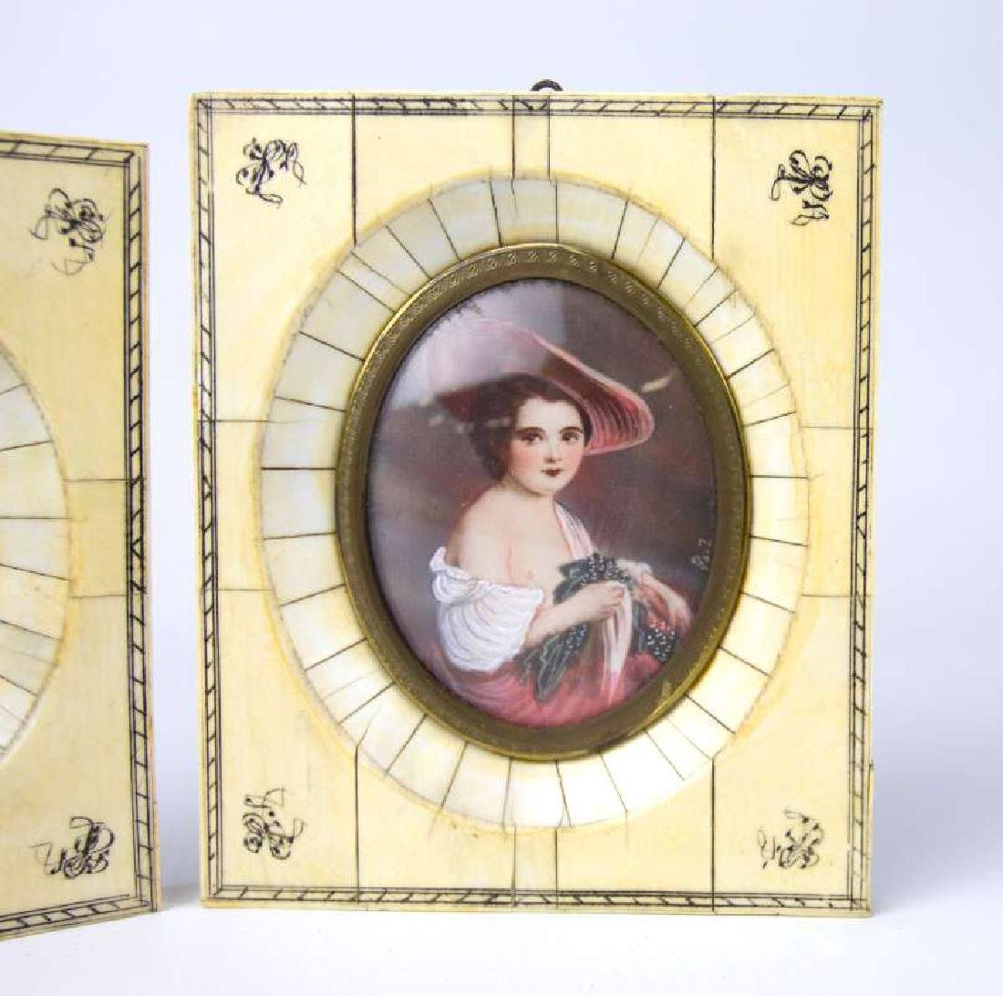 TWO LATE 19TH C. CONTINENTAL MINIATURE PORTRAITS - 3