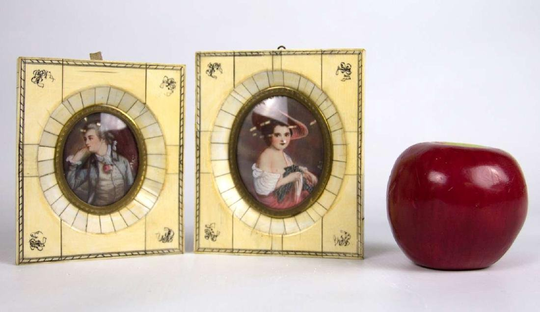 TWO LATE 19TH C. CONTINENTAL MINIATURE PORTRAITS - 4
