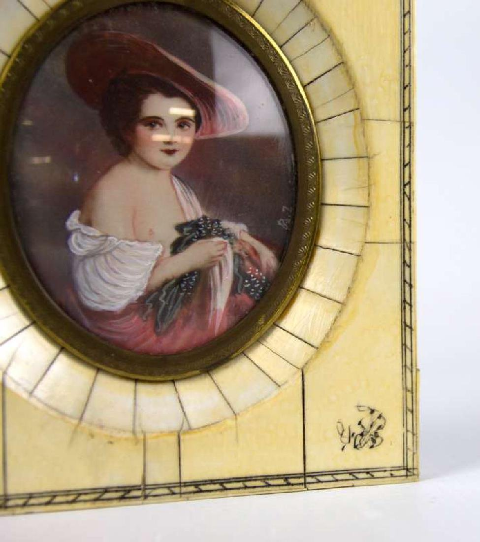 TWO LATE 19TH C. CONTINENTAL MINIATURE PORTRAITS - 5