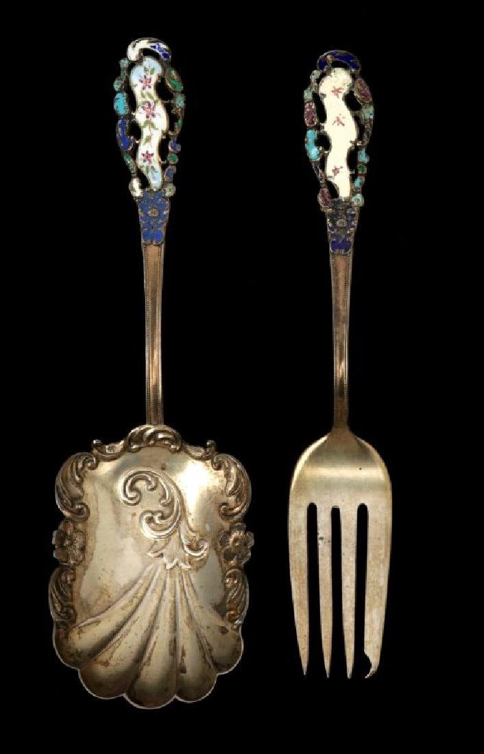 EDWARDIAN ENAMELED STERLING SILVER PIECES