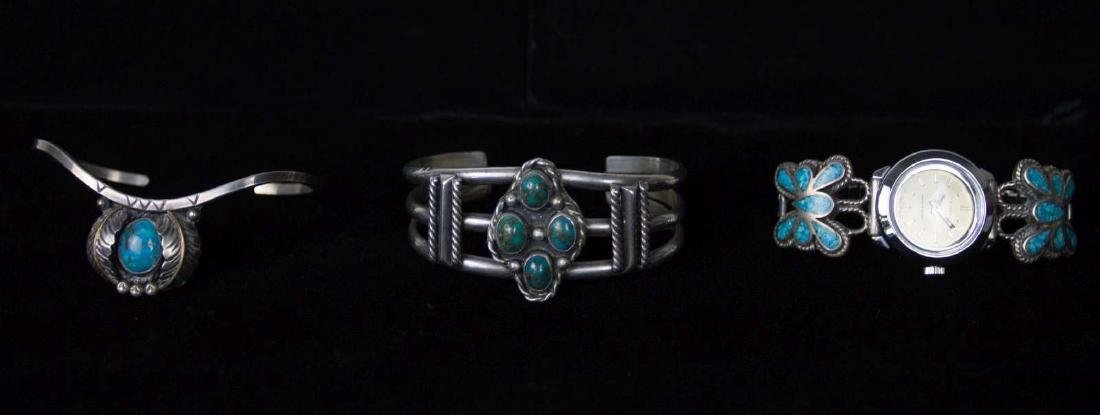 NAVAJO STERLING SILVER BRACELETS WITH TURQUOISE