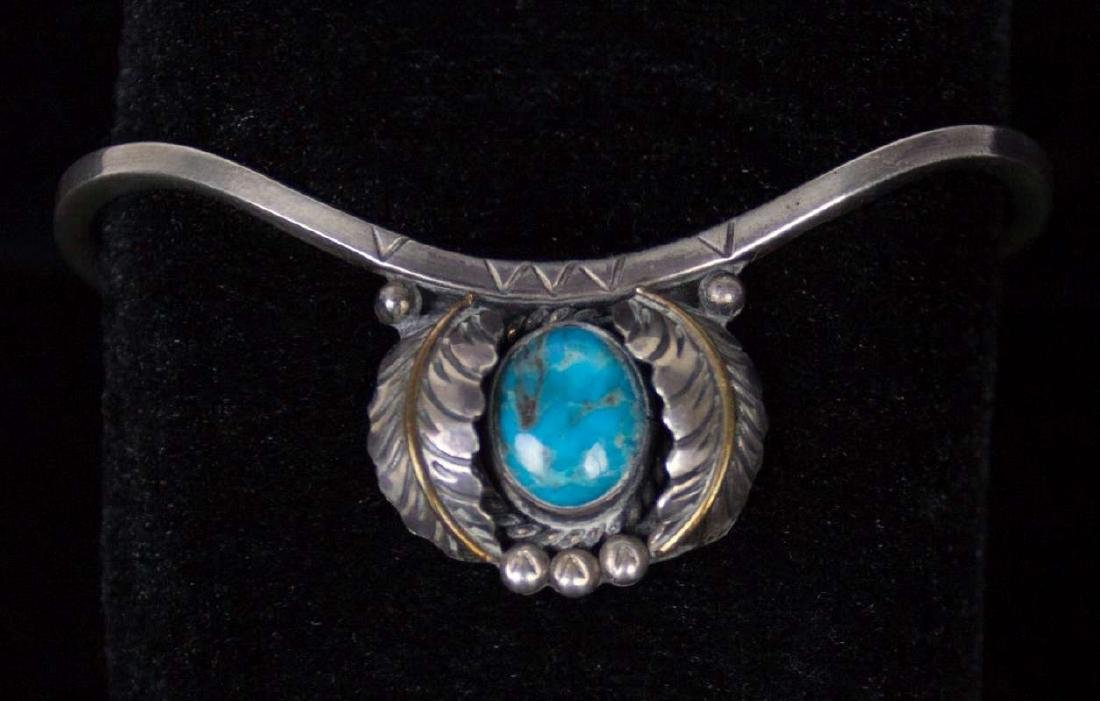 NAVAJO STERLING SILVER BRACELETS WITH TURQUOISE - 2