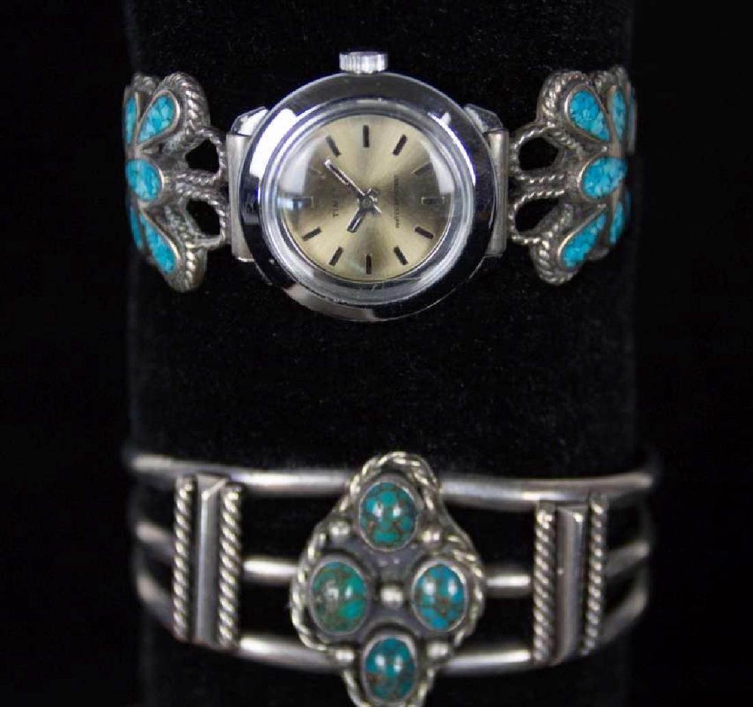 NAVAJO STERLING SILVER BRACELETS WITH TURQUOISE - 3