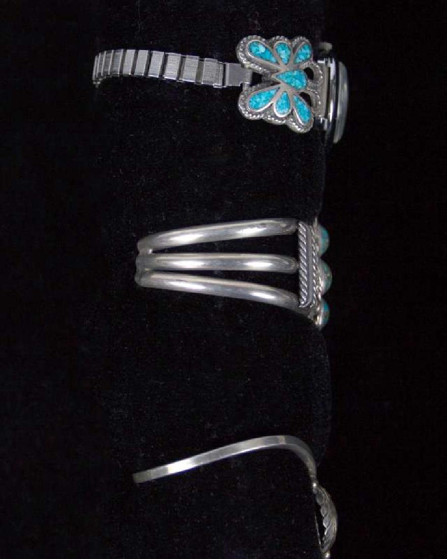 NAVAJO STERLING SILVER BRACELETS WITH TURQUOISE - 5