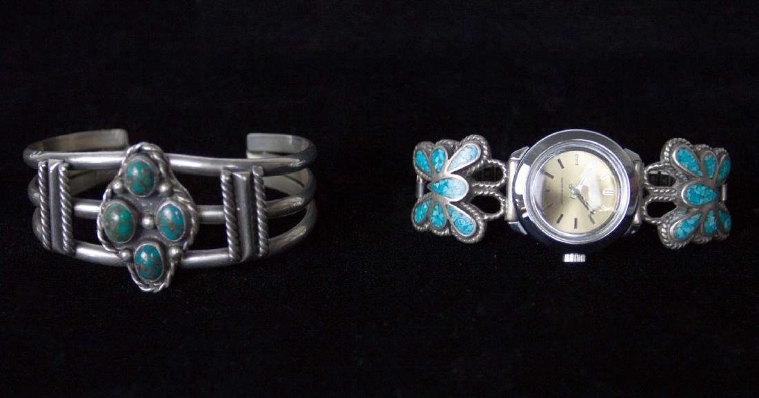 NAVAJO STERLING SILVER BRACELETS WITH TURQUOISE - 6