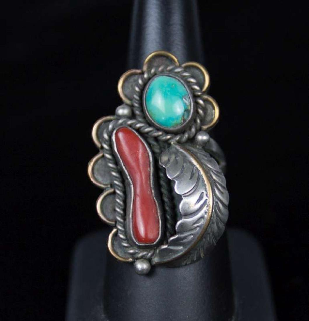A NAVAJO STERLING, TURQUOISE AND CORAL RING
