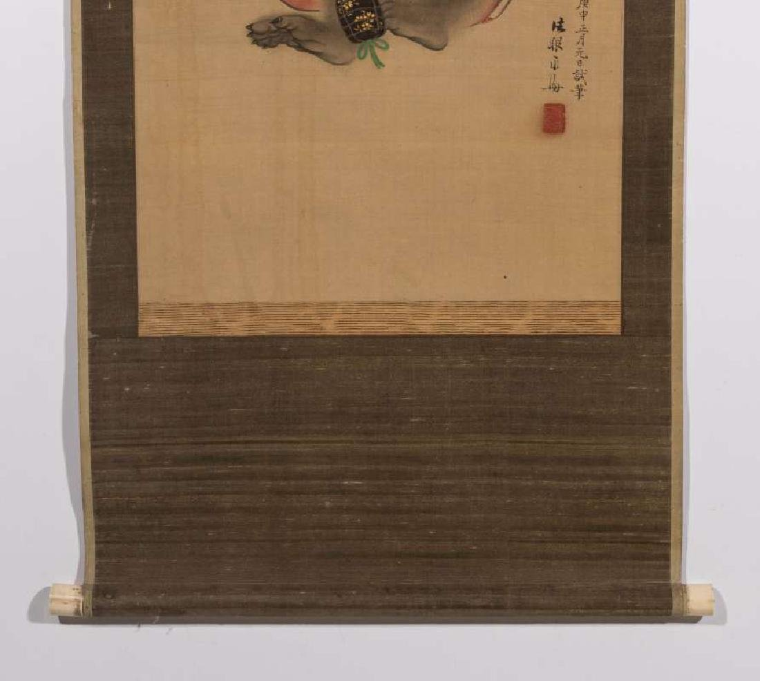 A GOOD EDO PERIOD JAPANESE SCROLL DATED 1860 - 5