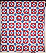 VINTAGE RED, WHITE AND BLUE APPLIQUE HEARTS QUILT