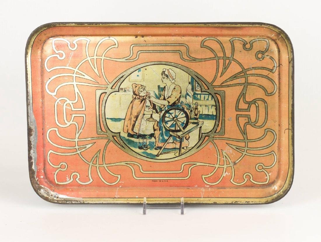 A CHILD'S TIN LITHO TRAY WITH RED RIDING HOOD