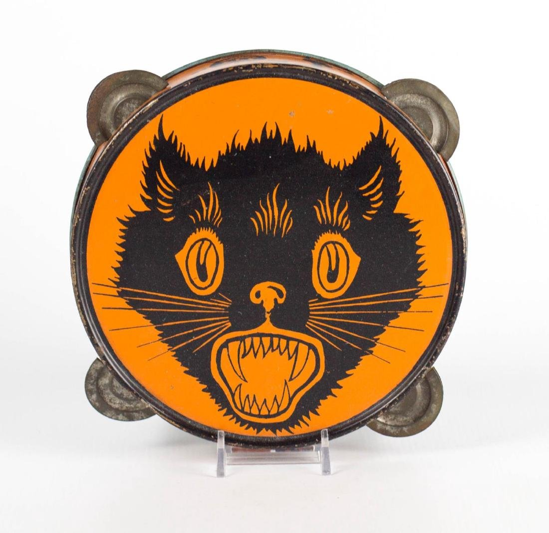 A BLACK CAT TIN LITHO HALLOWEEN TAMBOURINE