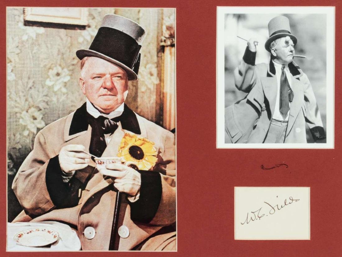 SIGNATURE OF W.C. FIELDS MATTED WITH PHOTOGRAPHS