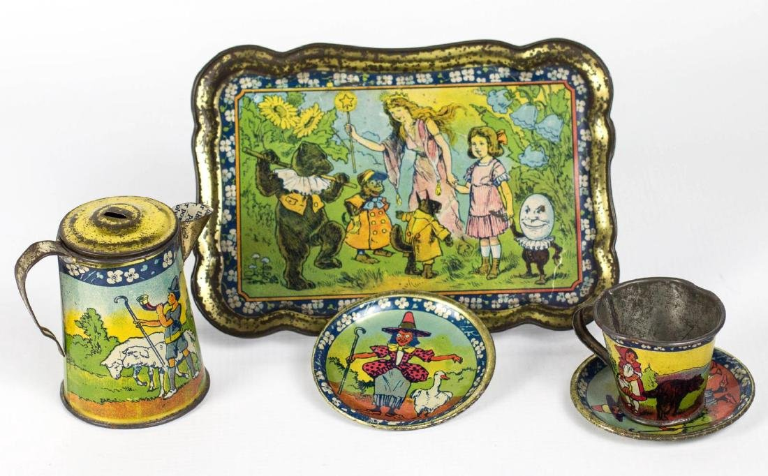 A NURSERY RHYME TIN LITHO TEA SET