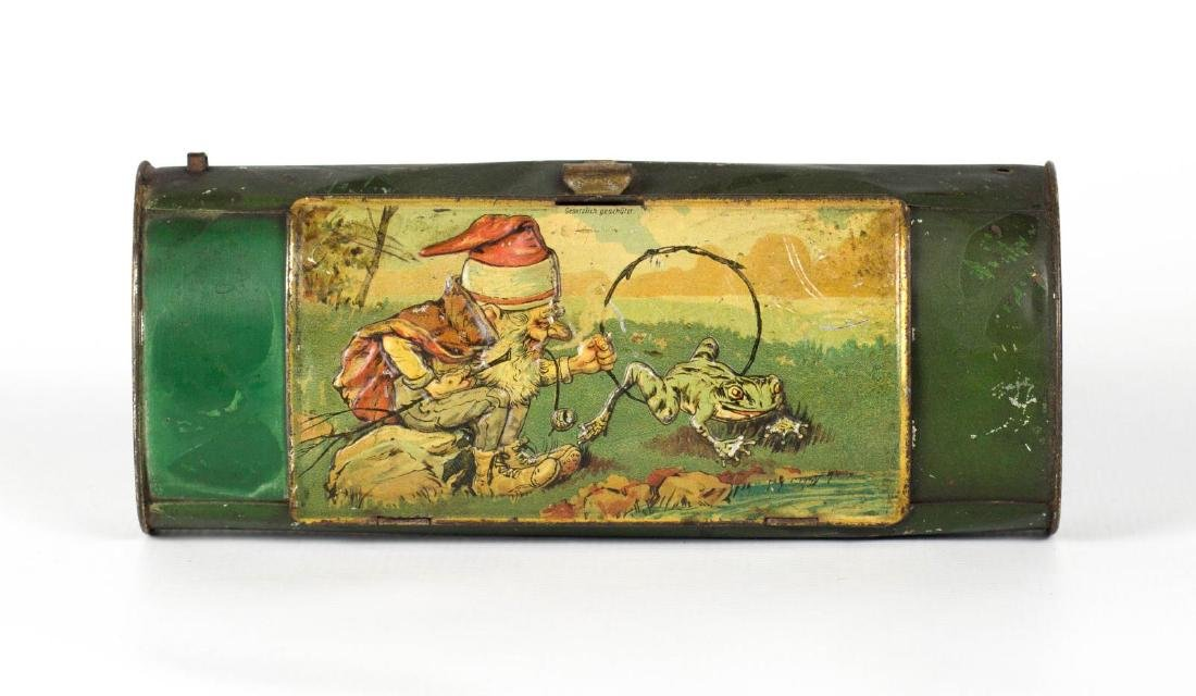 A 19TH C. GERMAN TIN LITHO VASCULUM WITH A GNOME