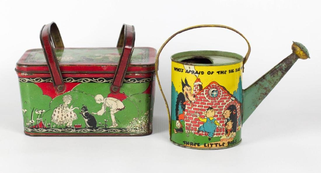 TIN LITHO LUNCH PAIL AND WATERING CAN