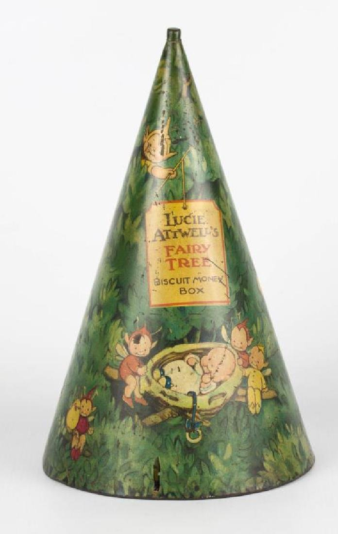 LUCIE ATTWELL'S FAIRY TREE TIN LITHO BANK
