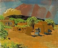 GUSTAVE BAUMANN (1881-1971) SIGNED COLOR WOODBLOCK
