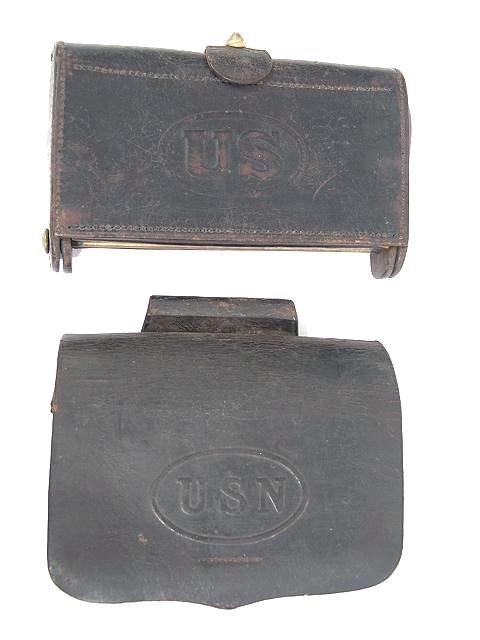 6: TWO US MILITARY LEATHER CARTRIDGE BOXES
