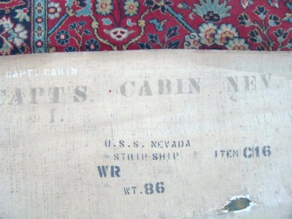 6A: CAPT'S CABIN RUG FROM U.S.S. NEVADA AT PEARL HARBOR