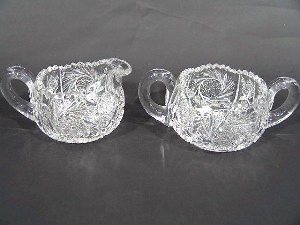22: CUT GLASS CREAMER & SUGAR