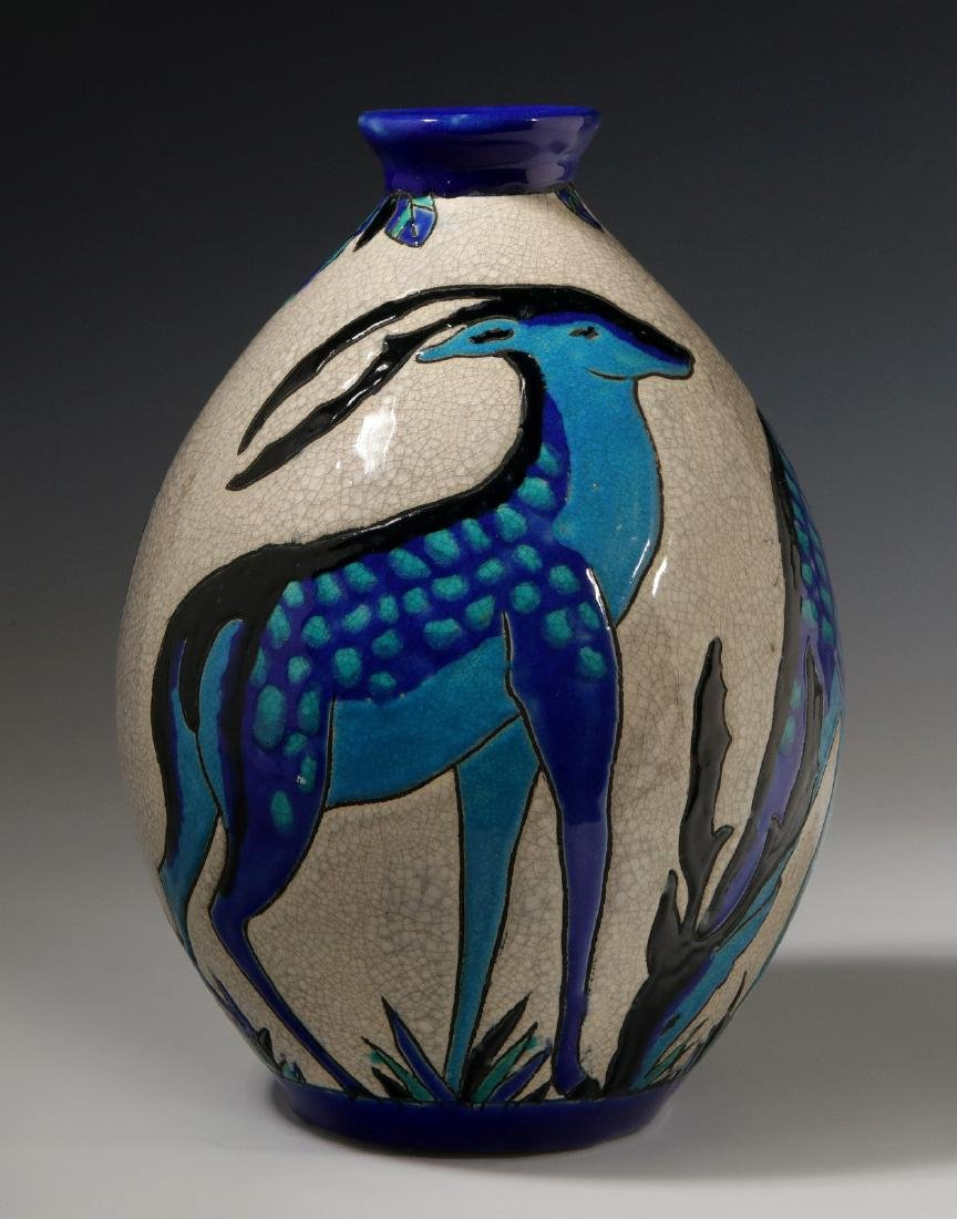 A CATTEAU DEER VASE FOR BOCH FRERES KERAMIS