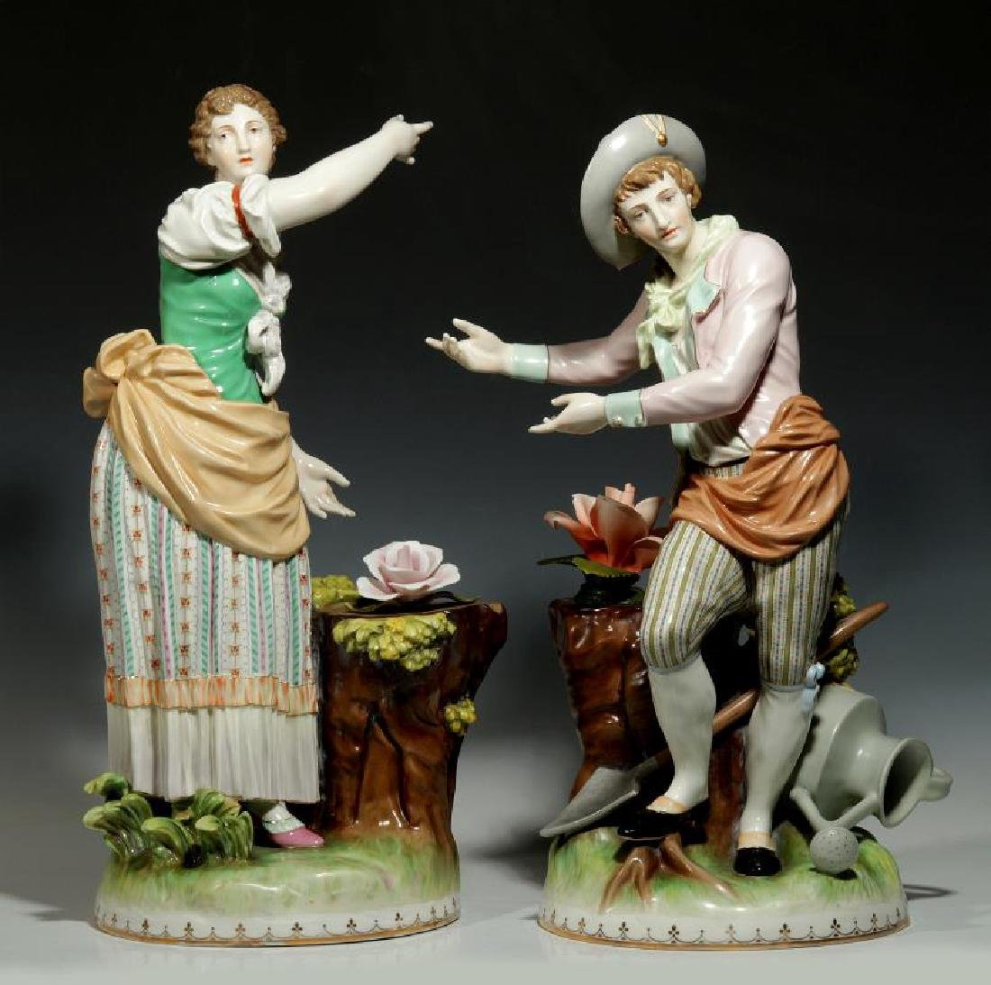 EARLY 20TH C. ERNST WAHLISS PORCELAIN FIGURES 21 INCHES