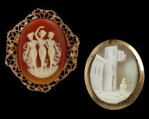 VINTAGE AND ANTIQUE CARVED SHELL CAMEO BROOCHES
